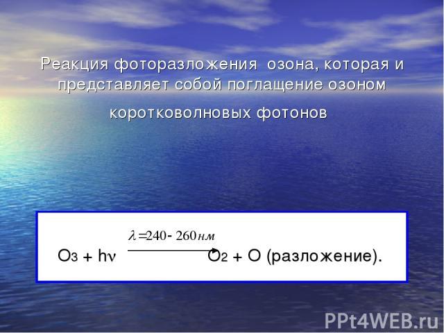 Реакция фоторазложения озона, которая и представляет собой поглащение озоном коротковолновых фотонов О3 + h О2 + О (разложение).
