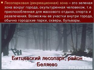 Битцевский лесопарк, район Беляево Лесопарковая (рекреационная) зона – это зелен