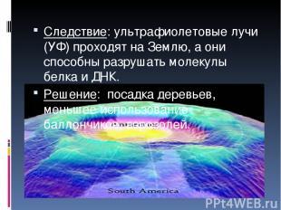 Следствие: ультрафиолетовые лучи (УФ) проходят на Землю, а они способны разрушат