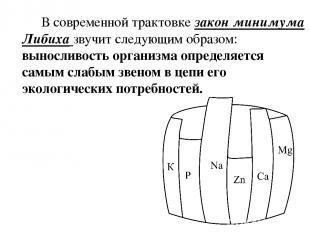 В современной трактовке закон минимума Либиха звучит следующим образом: вынослив