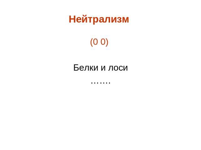 Нейтрализм (0 0) Белки и лоси …….