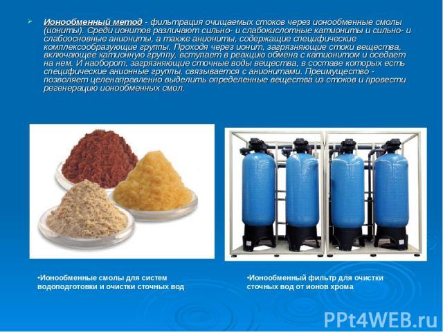 Ионообменный метод - фильтрация очищаемых стоков через ионообменные смолы (иониты). Среди ионитов различают сильно- и слабокислотные катиониты и сильно- и слабоосновные аниониты, а также аниониты, содержащие специфические комплексообразующие группы.…