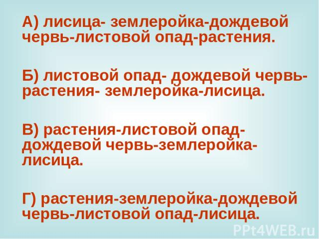 А) лисица- землеройка-дождевой червь-листовой опад-растения. Б) листовой опад- дождевой червь- растения- землеройка-лисица. В) растения-листовой опад- дождевой червь-землеройка- лисица. Г) растения-землеройка-дождевой червь-листовой опад-лисица.