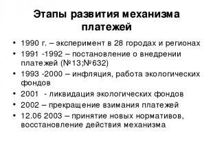 Этапы развития механизма платежей 1990 г. – эксперимент в 28 городах и регионах