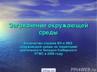 Загрязнение окружающей среды Количество случаев ВЗ и ЭВЗ окружающей среды на тер