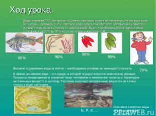 Ход урока. Вода, занимая 71% поверхности Земли, является самым обильным и ценным