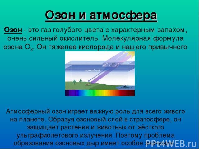 Озон и атмосфера Озон - это газ голубого цвета с характерным запахом, очень сильный окислитель. Молекулярная формула озона О3. Он тяжелее кислорода и нашего привычного воздуха. Атмосферный озон играет важную роль для всего живого на планете. Образуя…