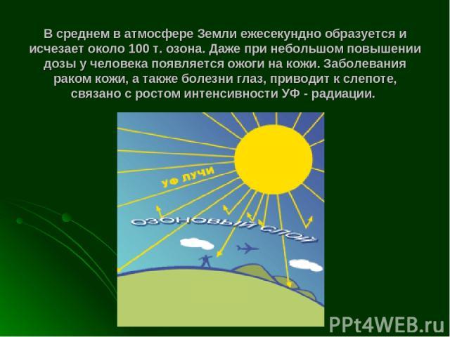 В среднем в атмосфере Земли ежесекундно образуется и исчезает около 100 т. озона. Даже при небольшом повышении дозы у человека появляется ожоги на кожи. Заболевания раком кожи, а также болезни глаз, приводит к слепоте, связано с ростом интенсивности…