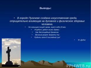 Выводы: В городе Пугачеве создана искусственная среда, отрицательно влияющая на