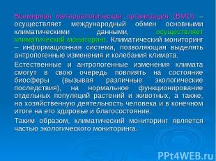 Всемирная метеорологическая организация (ВМО) – осуществляет международный обмен