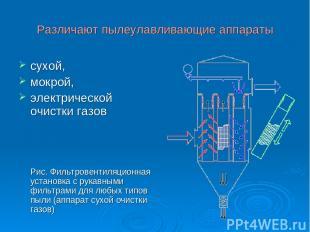 Различают пылеулавливающие аппараты сухой, мокрой, электрической очистки газов Р