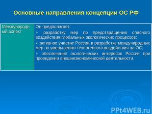 Основные направления концепции ОС РФ Международный аспект Он предполагает: разра