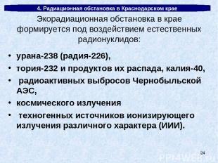 * 4. Радиационная обстановка в Краснодарском крае урана-238 (радия-226), тория-2
