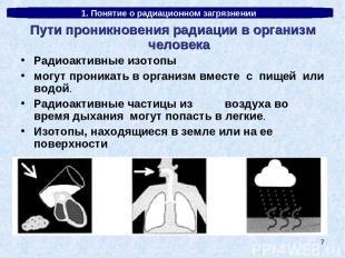 * 1. Понятие о радиационном загрязнении Пути проникновения радиации в организм ч