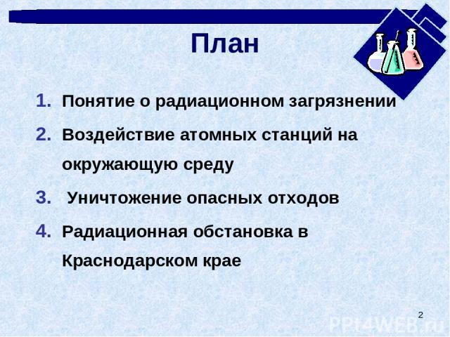 * План Понятие о радиационном загрязнении Воздействие атомных станций на окружающую среду Уничтожение опасных отходов Радиационная обстановка в Краснодарском крае