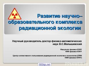 Развитие научно–образовательного комплекса радиационной экологии Научный руковод