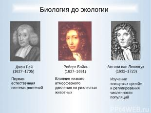 Роберт Бойль (1627–1691) Джон Рей (1627–1705) Антони ван Левенгук (1632–1723) Би