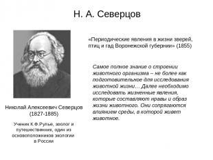 Н. А. Северцов Николай Алексеевич Северцов (1827-1885) «Периодические явления в