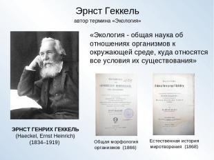 Эрнст Геккель ЭРНСТ ГЕНРИХ ГЕККЕЛЬ (Haeckel, Ernst Heinrich) (1834–1919) Общая м