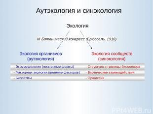 Аутэкология и синэкология Экология Экология организмов (аутэкология) Экология со