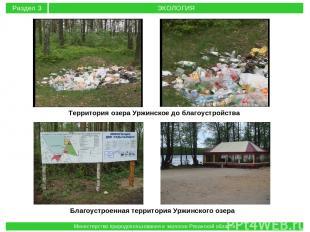 Территория озера Уржинское до благоустройства Благоустроенная территория Уржинск