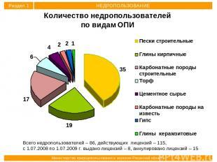 Всего недропользователей – 86, действующих лицензий – 115, с 1.07.2008 по 1.07.2