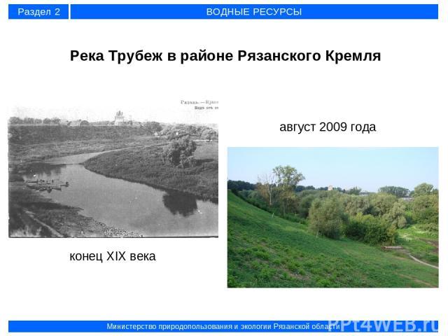 Река Трубеж в районе Рязанского Кремля конец XIX века август 2009 года Раздел 2 ВОДНЫЕ РЕСУРСЫ Министерство природопользования и экологии Рязанской области