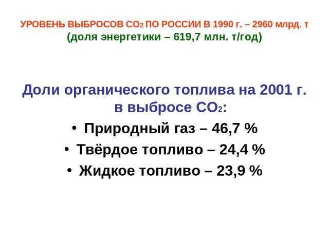 УРОВЕНЬ ВЫБРОСОВ СО2 ПО РОССИИ В 1990 г. – 2960 млрд. т (доля энергетики – 619,7 млн. т/год) Доли органического топлива на 2001 г. в выбросе СО2: Природный газ – 46,7 % Твёрдое топливо – 24,4 % Жидкое топливо – 23,9 %