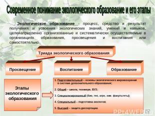 Экологическое образование - процесс, средство и результат получения и усвоения э
