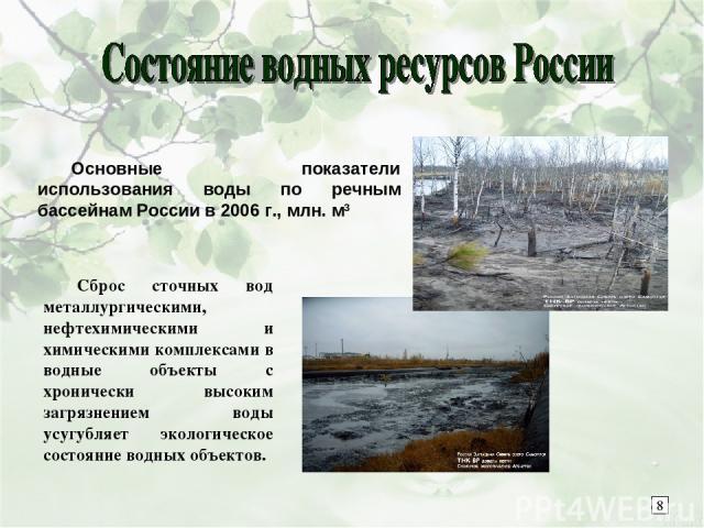 Основные показатели использования воды по речным бассейнам России в 2006 г., млн. м3 Сброс сточных вод металлургическими, нефтехимическими и химическими комплексами в водные объекты с хронически высоким загрязнением воды усугубляет экологическое сос…