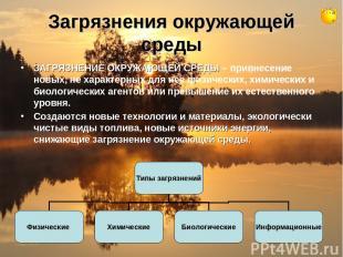 Загрязнения окружающей среды ЗАГРЯЗНЕНИЕ ОКРУЖАЮЩЕЙ СРЕДЫ – привнесение новых, н