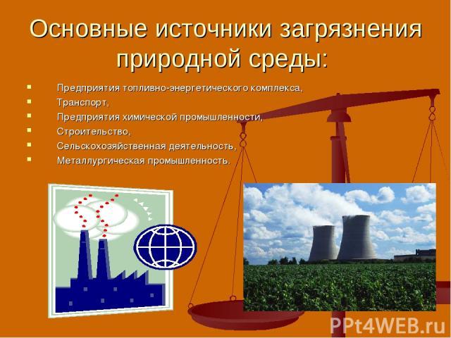Основные источники загрязнения природной среды: Предприятия топливно-энергетического комплекса, Транспорт, Предприятия химической промышленности, Строительство, Сельскохозяйственная деятельность, Металлургическая промышленность.