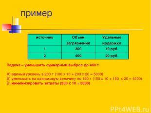пример Задача – уменьшить суммарный выброс до 400 т А) единый уровень в 200 т (1
