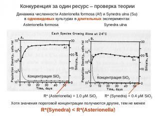 Динамика численности Asterionella formosa (Af) и Synedra ulna (Su) в одновидовых