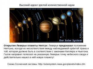 Высокий идеал зрелой количественной науки Открытие Леверье планеты Нептун: Левер
