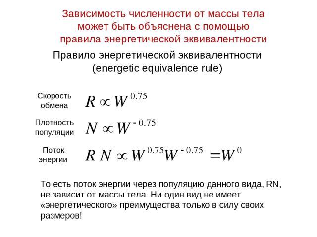 Правило энергетической эквивалентности (energetic equivalence rule) То есть поток энергии через популяцию данного вида, RN, не зависит от массы тела. Ни один вид не имеет «энергетического» преимущества только в силу своих размеров! Зависимость числе…