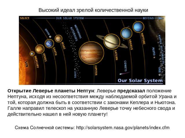 Высокий идеал зрелой количественной науки Открытие Леверье планеты Нептун: Леверье предсказал положение Нептуна, исходя из несоответствия между наблюдаемой орбитой Урана и той, которая должна быть в соответствии с законами Кеплера и Ньютона. Галле н…