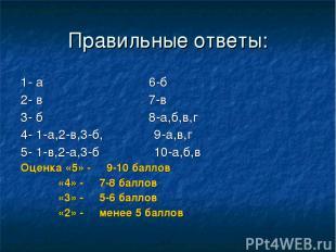 Правильные ответы: 1- а 6-б 2- в 7-в 3- б 8-а,б,в,г 4- 1-а,2-в,3-б, 9-а,в,г 5- 1
