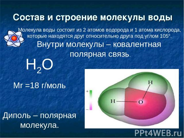Состав и строение молекулы воды Н2О Mr =18 г/моль Диполь – полярная молекула. Молекула воды состоит из 2 атомов водорода и 1 атома кислорода, которые находятся друг относительно друга под углом 105°. Внутри молекулы – ковалентная полярная связь.