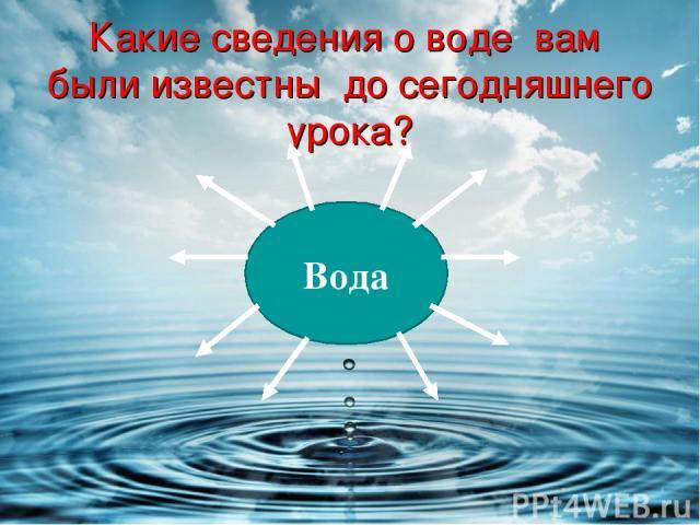 Какие сведения о воде вам были известны до сегодняшнего урока? Вода