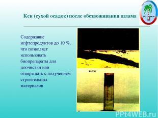 * Кек (сухой осадок) после обезвоживания шлама Содержание нефтепродуктов до 10 %