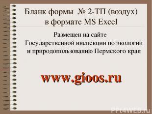 Бланк формы № 2-ТП (воздух) в формате MS Excel Размещен на сайте Государственной