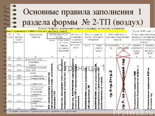 Основные правила заполнения 1 раздела формы № 2-ТП (воздух)