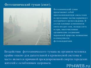 Фотохимический туман (смог). Фотохимический туман представляет собой многокомпон