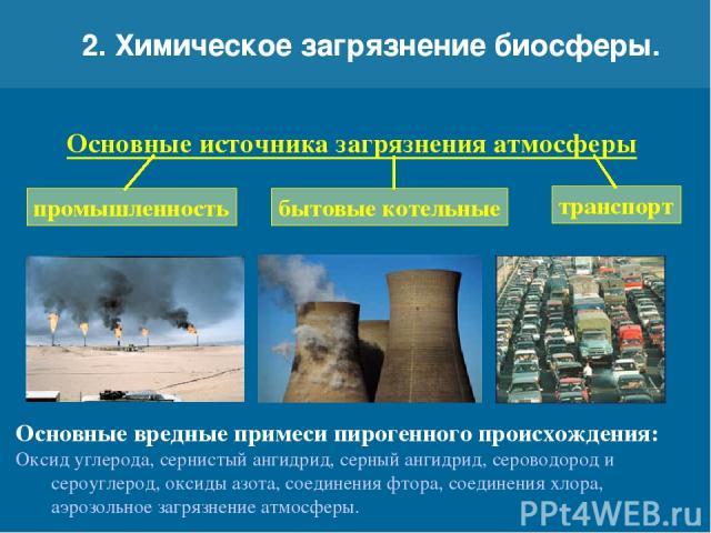 2. Химическое загрязнение биосферы. Основные источника загрязнения атмосферы транспорт бытовые котельные промышленность Основные вредные примеси пирогенного происхождения: Оксид углерода, сернистый ангидрид, серный ангидрид, сероводород и сероуглеро…