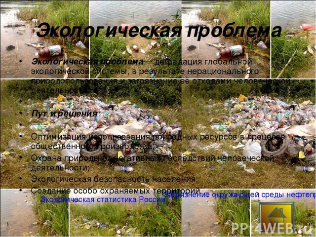 Экологическая проблема Экологическая проблема— деградация глобальной экологической системы, в результате нерационального природопользования и загрязнение её отходами человеческой деятельности.  Пути решения  Оптимизация использования природных рес…