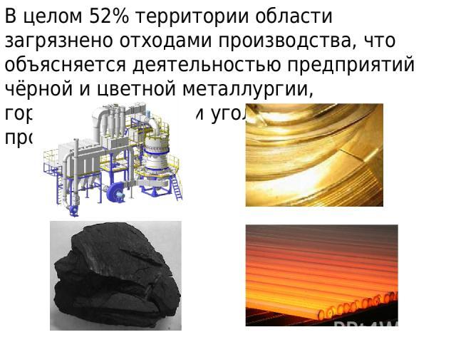 В целом 52% территории области загрязнено отходами производства, что объясняется деятельностью предприятий чёрной и цветной металлургии, горнодобывающей и угольной промышленности.