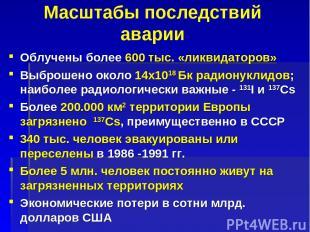 Масштабы последствий аварии Облучены более 600 тыс. «ликвидаторов» Выброшено око