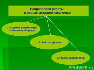 Направления работы в рамках методической темы: 1. Создание развивающей экологиче