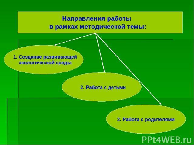 Направления работы в рамках методической темы: 1. Создание развивающей экологической среды 2. Работа с детьми 3. Работа с родителями